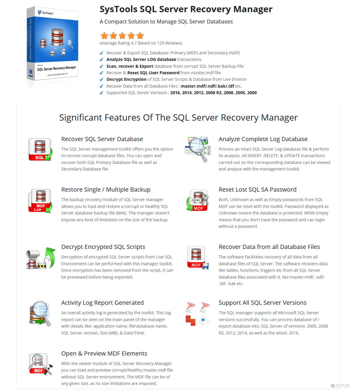 SysTools SQL Server Recovery Manager Discount Coupon Code
